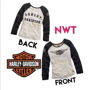Harley-Davidson Long Sleeve Knit Tee, Black/Cream